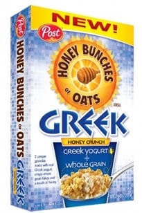 Honey Bunches of Oats Cereal with Greek Yogurt Cereal and Saturated fat