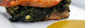 Spinach-Stuffed Salmon with Mango Sauce