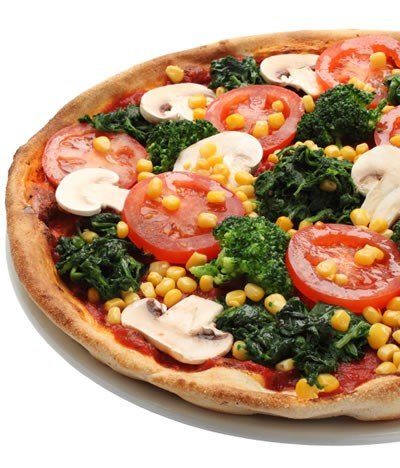 You can make delicious healthy pizza using fantastic whole-wheat pizza crust and lots of fresh veggies.