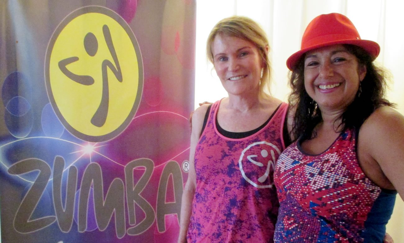 Maria Ojeda and Pritikin Guest Sheila McCormack after Zumba Fitness For Beginners for at Pritikin.