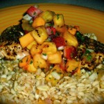 Lemon Pepper Salmon with Citrus Multigrain Pilaf & Tropical Salsa recipe
