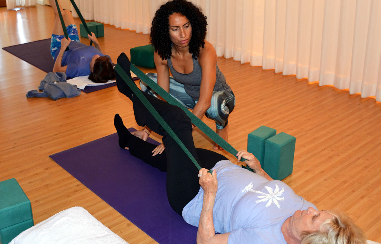 Yoga for Beginners is taught by Pritikin Fitness Instructor Liza Pitsirilos, M.S., E-RYT.