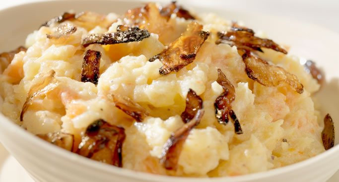Mashed Potatoes & Turnips with Caramelized Onions