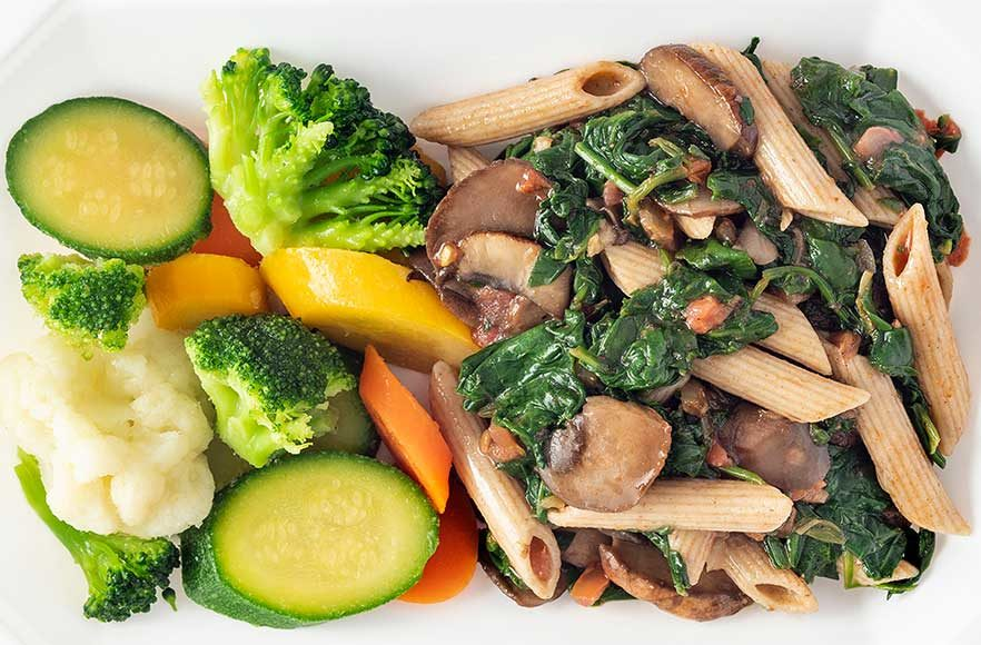 Mushroom & Spinach Pasta with Mixed Vegetables – Click Here for More Details